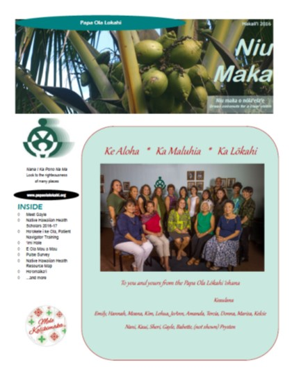 Newsletter front page 2016 Makalii